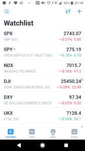 TradingViewアプリのウォッチリスト画面